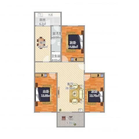 市府大院9座4023室3厅1卫1厨138.00㎡户型图
