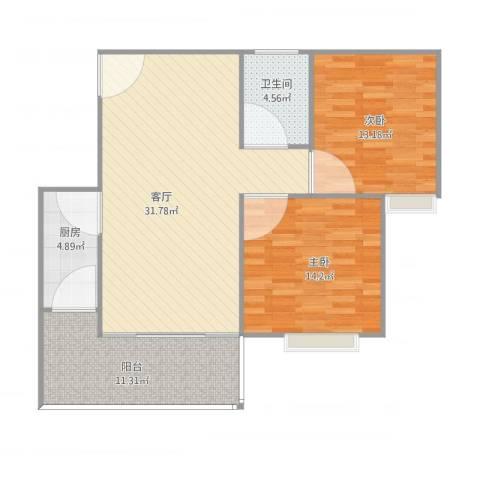 侨英花园c1栋26052室1厅1卫1厨107.00㎡户型图