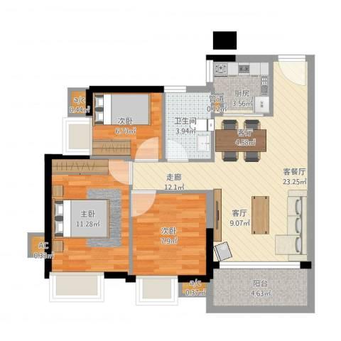 金碧雅苑3室1厅5卫1厨85.00㎡户型图