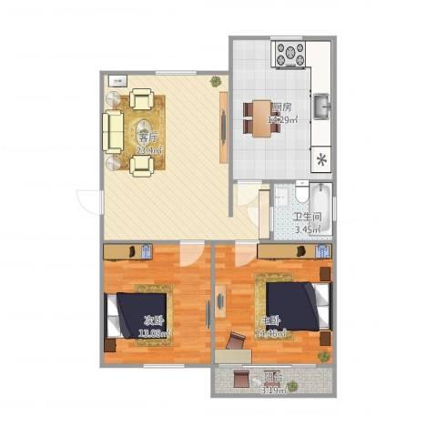 美仁新村2室1厅1卫1厨96.00㎡户型图