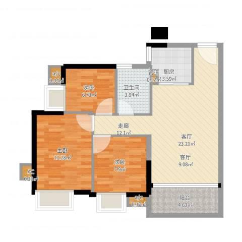 金碧雅苑3室1厅5卫1厨88.00㎡户型图