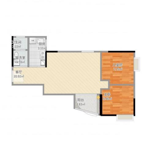 金碧花园2室2厅1卫1厨60.00㎡户型图