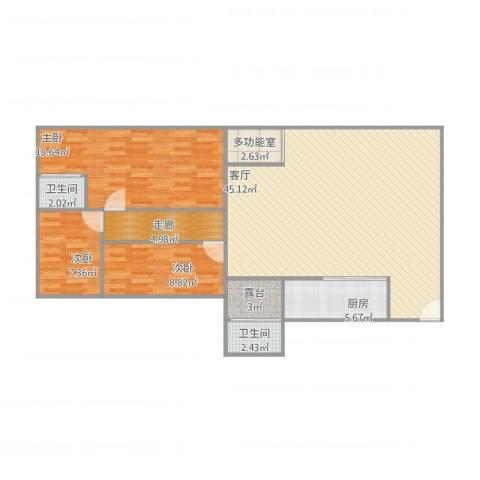 碧翠豪城3室1厅2卫1厨135.00㎡户型图