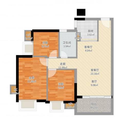 金碧雅苑3室1厅1卫1厨88.00㎡户型图