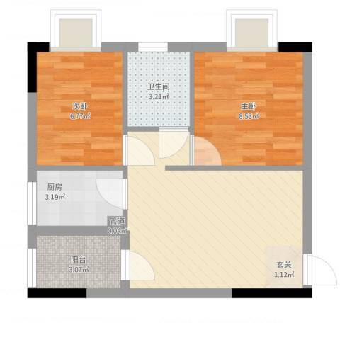 天明豪庭2室1厅2卫1厨58.00㎡户型图