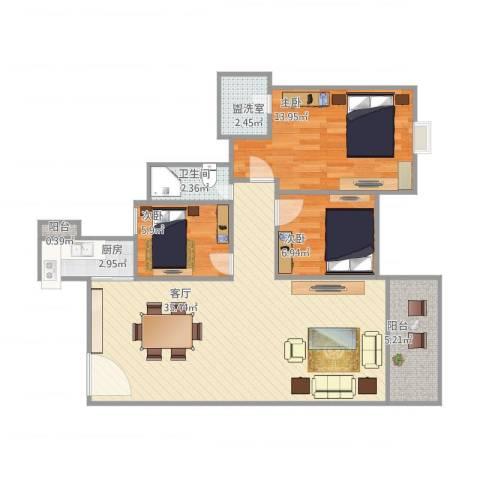 东怡花园3室2厅1卫1厨102.00㎡户型图