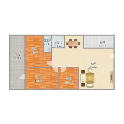 信达大厦二期3室2厅1卫1厨149.00㎡户型图