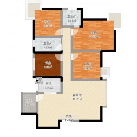 旌城一品4室1厅2卫1厨140.00㎡户型图