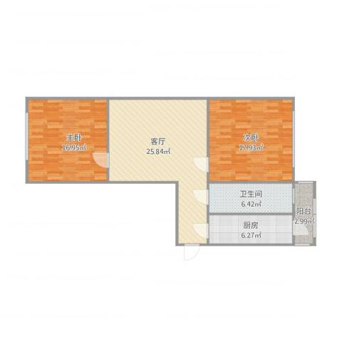 玉成里2室1厅1卫1厨102.00㎡户型图