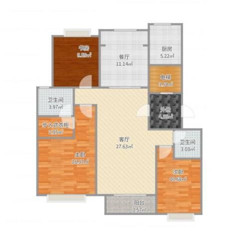 颐和庄园三期3室2厅2卫1厨139.00㎡户型图