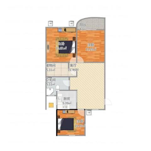 康恒嘉和豪庭3室1厅1卫1厨109.00㎡户型图