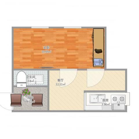 唐口六段1室1厅1卫1厨59.00㎡户型图