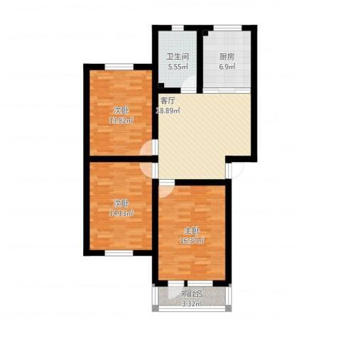 东苑花园3室1厅1卫1厨117.00㎡户型图