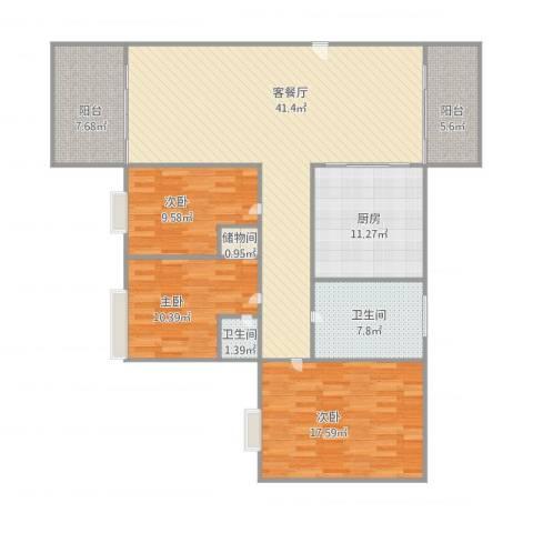 星河名居3室1厅2卫1厨152.00㎡户型图