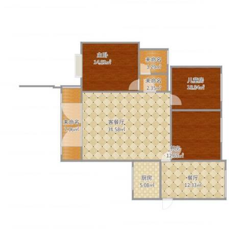 天明城3室2厅3卫1厨133.00㎡户型图