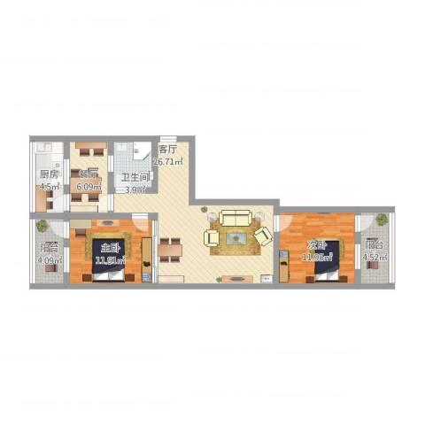燕山小区2室2厅1卫1厨110.00㎡户型图