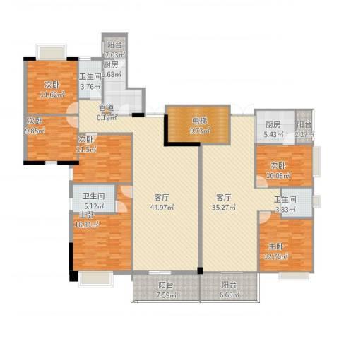 富力院士庭6室2厅3卫2厨281.00㎡户型图