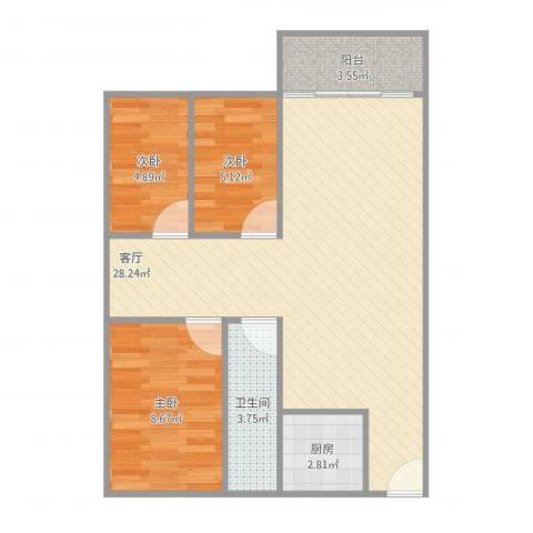 俊雅苑3室1厅1卫1厨78.00㎡户型图