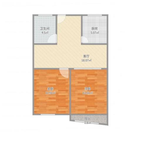 宝城一村2室1厅1卫1厨72.00㎡户型图