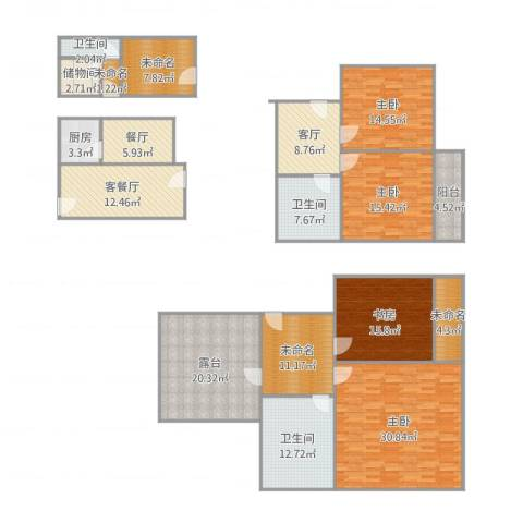 奉贤玫瑰苑4室3厅3卫1厨244.00㎡户型图