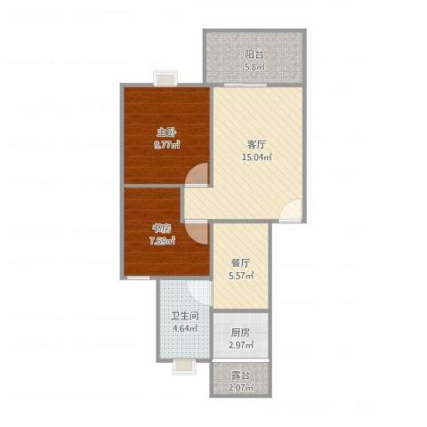 锦绣花园一期2室2厅1卫1厨73.00㎡户型图