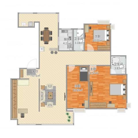 紫东嘉园3室1厅2卫1厨176.00㎡户型图