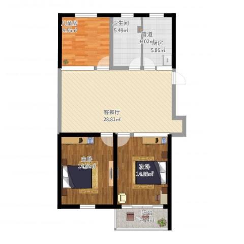星海新村3室1厅2卫1厨117.00㎡户型图