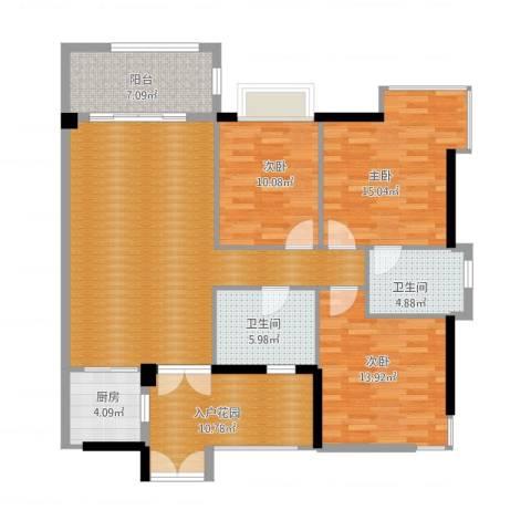富力院士庭3室1厅2卫1厨146.00㎡户型图