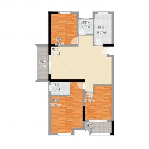 信达银杏尚郡3室1厅2卫1厨123.00㎡户型图