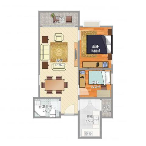 富力东堤湾2室1厅1卫1厨57.00㎡户型图