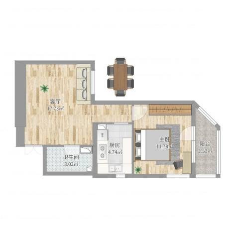 牛街西里1室1厅1卫1厨60.00㎡户型图