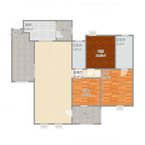 金域廊院1073室1厅2卫1厨142.00㎡户型图