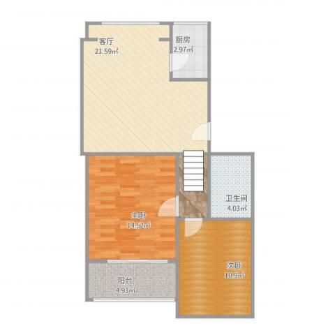 城子大街132号院2室1厅1卫1厨84.00㎡户型图
