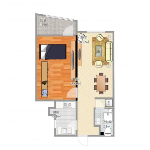 东方东路1室1厅1卫1厨61.00㎡户型图