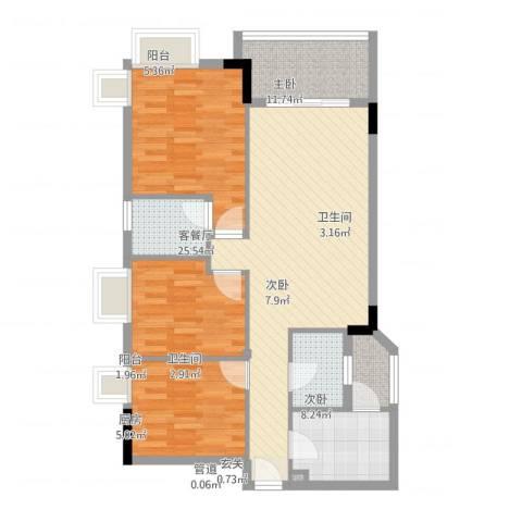 江南新苑3室1厅2卫1厨102.00㎡户型图