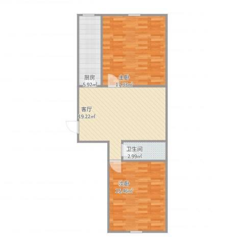 世纪新城2室1厅1卫1厨82.00㎡户型图