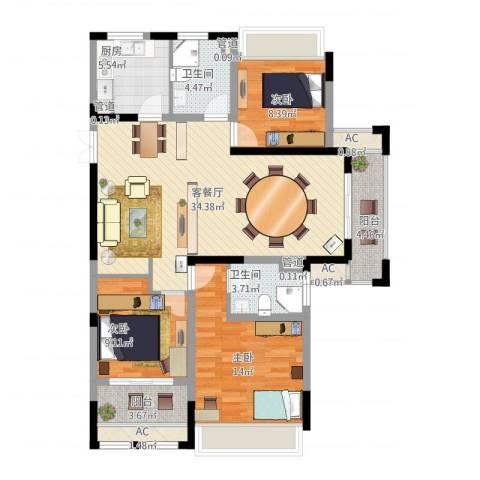 奥体新城3室1厅2卫1厨132.00㎡户型图