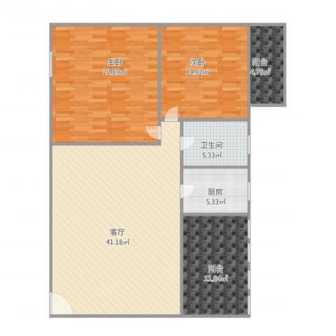 聚侨苑2室1厅1卫1厨141.00㎡户型图