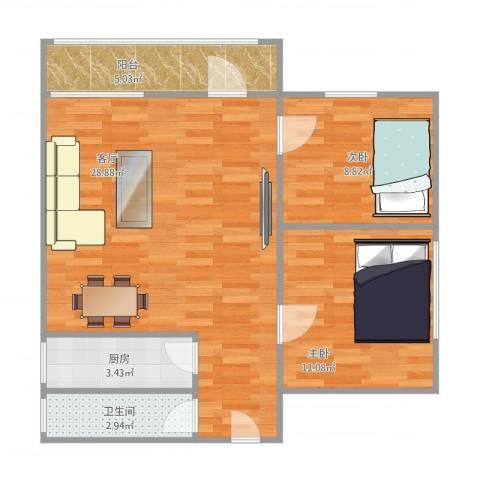 汇富花苑2室1厅1卫1厨81.00㎡户型图