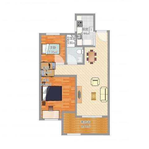 常发御龙山住宅2室1厅1卫1厨97.00㎡户型图