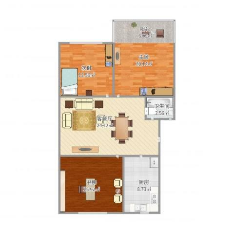 双眼井巷3室1厅1卫1厨112.00㎡户型图