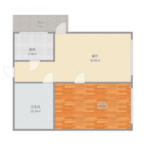 锦绣暖山1室1厅1卫1厨83.00㎡户型图