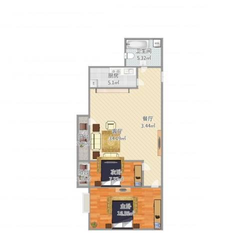 中央学府2室1厅1卫1厨97.00㎡户型图