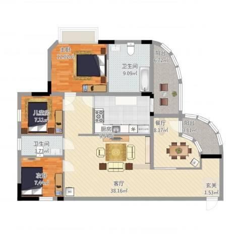 中信凯旋公馆(二期)3室2厅2卫1厨150.00㎡户型图