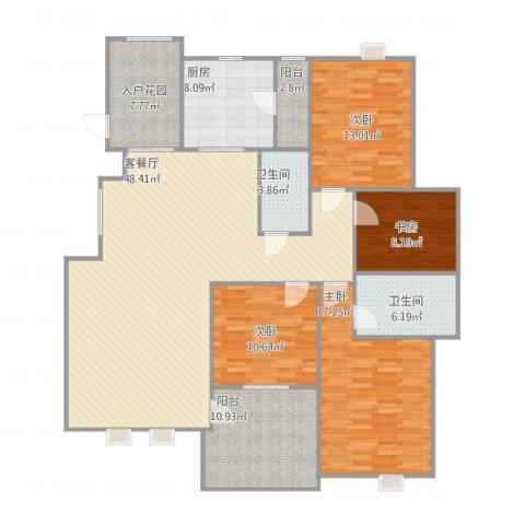 钰海山庄1524室1厅2卫1厨183.00㎡户型图