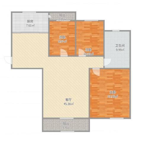 亲海园3室1厅1卫1厨149.00㎡户型图