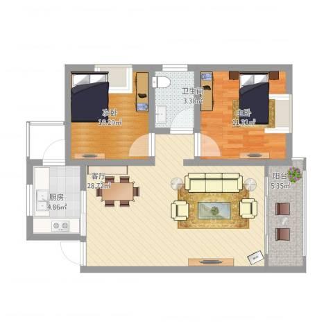 龙腾盛世2室1厅1卫1厨91.00㎡户型图