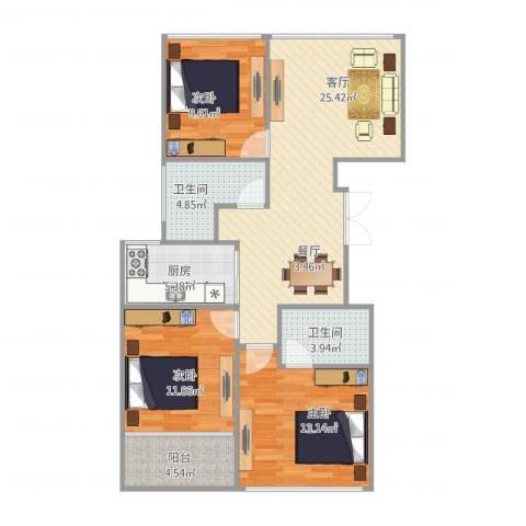 红苹果3室1厅2卫1厨106.00㎡户型图