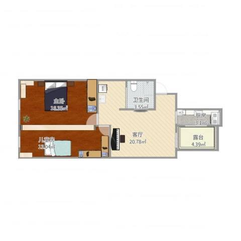 安华里2室1厅1卫1厨83.00㎡户型图