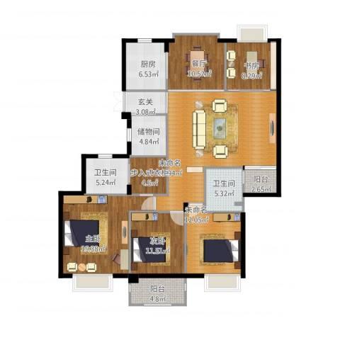 栖霞栖园3室1厅2卫1厨184.00㎡户型图